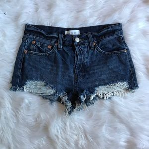 FREE PEOPLE Dark Blue Distress Jean Shorts Size 27